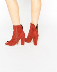 ASOS ELAINE Peep Toe Ankle Boots Ginger