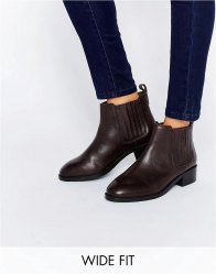 ASOS ABOUT TIME Wide Fit Leather Chelsea Boots Oxblood