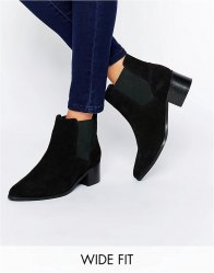 ASOS REALITY Wide Fit Suede Ankle Boots