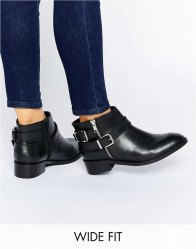 ASOS AFTER DARK Wide Fit Leather Ankle Boots