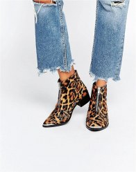 ASOS ALEXIS Leather Zip Ankle Boots