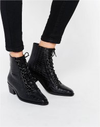 ASOS ARIANA Leather Lace Up Ankle Boots Black croc leather