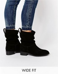 ASOS ANIKA Wide Fit Suede Pull On Ankle Boots