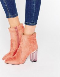 Public Desire Cate Pink Clear Heel Ankle Boot Coral mf