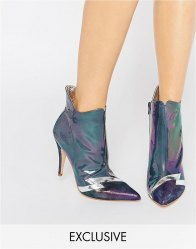 Terry de Havilland Pixie Petrol Heeled Ankle Boots Petrol