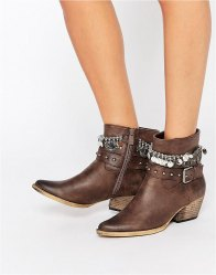 Glamorous Grey Studded Multi Chain Heeled Ankle Boots