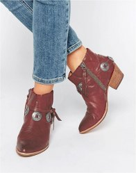 Dolce Vita Skye Red Leather Western Heeled Ankle Boots Red leather