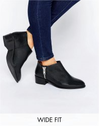 ASOS ALDGATE Wide Fit Leather Ankle Boots