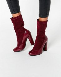 Daisy Street Burgundy Patent Sock Heeled Ankle Boots Burgundy patent με