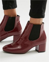Daisy Street Burgundy Patent Chelsea Boots Burgundy patent