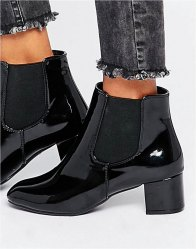 Daisy Street Patent Chelsea Boots patent