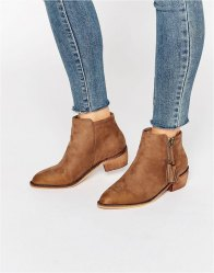Glamorous Zip Taupe Flat Ankle Boots Taupe mf