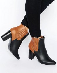 Glamorous Colour Block Heeled Ankle Boots