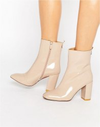 Public Desire Ramona Square Toe Heeled Ankle Boots Nude patent