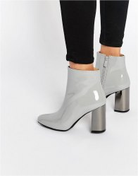 Public Desire Darla Mirror Heeled Ankle Boots Grey patent