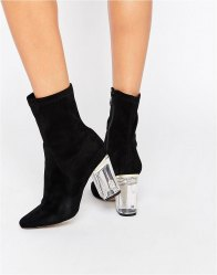 Public Desire Ema Black Clear Heeled Ankle Boots Black suede