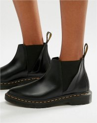 Dr Martens Bianca Black Chelsea Boots Black polished smoot