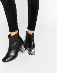 KG By Kurt Geiger Snoopy Leather Heeled Ankle Boots Black leather