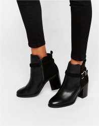 Miss KG Swift Buckle Strap Heeled Ankle Boots Black synthetic