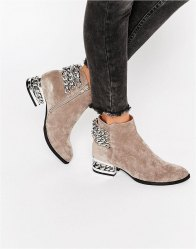 Jeffrey Campbell Chain Detail Suede Heeled Ankle Boots Taupe suede