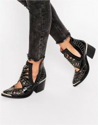 Jeffrey Campbell Stud Western Leather Heeled Ankle Boots Black pat
