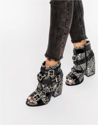 Jeffrey Campbell Buckle Strap Leather Heeled Ankle Boots Snake print leather