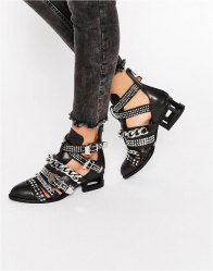Jeffrey Campbell Next Level Chain Stud Leather Heeled Ankle Boots Black cow