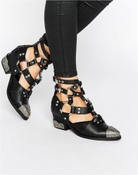 Jeffrey Campbell Temeku D Ring Strap Toecap Leather Heeled Ankle Boots Black calf leather