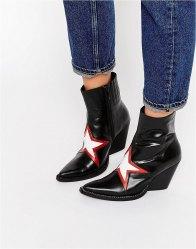 Jeffrey Campbell Gazer Star Western Heeled Ankle Boots Black red white