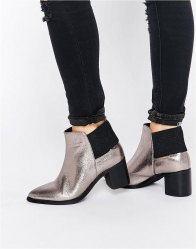 Lost Ink Aimon Metallic Heeled Ankle Boots