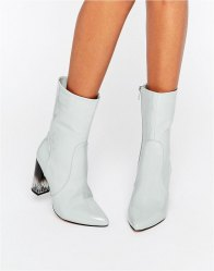 Lost Ink Geneva High Cut Clear Heel Ankle Boots