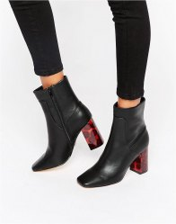 Lost Ink Adya Tortoishell Heeled Ankle Boots