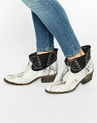Free People Dorado White Snake Effect Ankle Boots Black combo