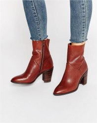ALDO Fearien Leather Heeled Ankle Boots Dark brown