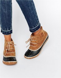 Sorel Out N About Leather Lace Up Ankle Boots Elk