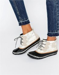 Sorel Out N About Canvas Lace Up Ankle Boots Sea salt