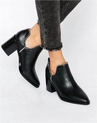 Senso Huntley I Black Leather Cut Out Zip Ankle Boots Ebony