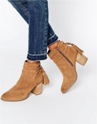 Faith Tassle Suede Heeled Ankle Boots Sand suede