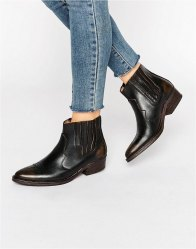 Selected Femme Type Distressed Leather Western Ankle Boots