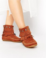 Minnetonka Double Fringe Coin Detail Boots Brown suede