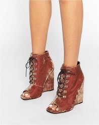 ASOS ELIS Lace Up Wedge Boots Conker