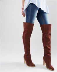 ASOS KEIRA Suede Over The Knee Boots Rust