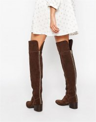 ASOS KING FISHER Suede Over The Knee Boots Choc suede