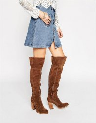 Dolce Vita Cliff Western Suede Heeled Over The Knee Boots Acorn suede
