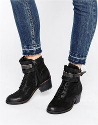 Dolce Vita Dixie Strap Leather Worker Boots Black nubuck