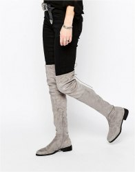 Public Desire Flat Tie Back Over The Knee Boot