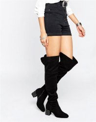 Daisy Street Stud Heeled Over The Knee Boots Black mf