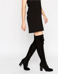 Public Desire Blake Lace Up Heeled Over The Knee Boots Black suede