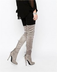 Public Desire Colette Heeled Thigh High Boots Grey suede