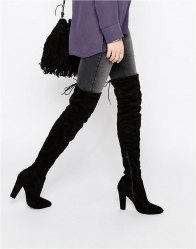 Public Desire Olivia Tie Back Heeled Thigh High Boots Black suede